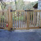 Double gates in oak made to clients design and hung by me .