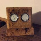 English burr oak timepiece and hygrometer.
